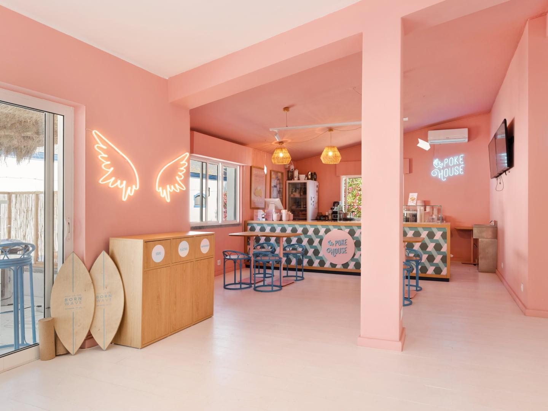 Interior design with decorative neon lights